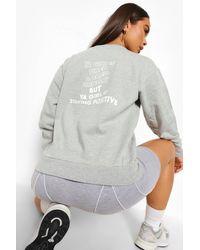 Boohoo Staying Positive Back Print Sweatshirt - Grey