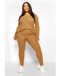 Boohoo Plus Cable Knit V Neck Knitted Co-ord - Natural
