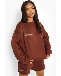 Boohoo Official Text Sweat Short Tracksuit - Brown