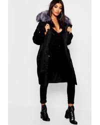 Boohoo Oversized Faux Fur Fly Hood Luxe Parka - Black