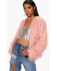 Boohoo - Sophia Shaggy Faux Fur Coat - Lyst