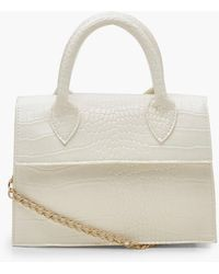 Boohoo Mini Croc Structured Cross Body Bag - White