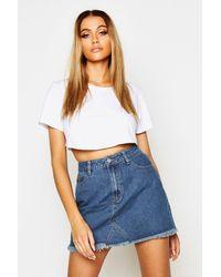 Boohoo Womens High Waisted Micro Denim Mini Skirt - Blue