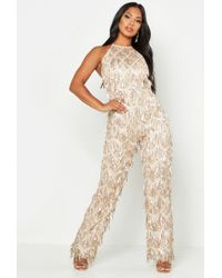 fc2716b8090 TOPSHOP All-over Sequin Plunge Jumpsuit By Rare in Metallic - Lyst
