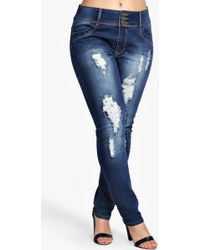Boohoo - Plus High Waisted Stretch Skinny Jeans - Lyst