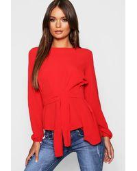 Boohoo Asymmetric Hem Belted Woven Top - Red