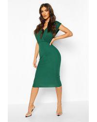 Boohoo Gathered Wrap Top Bodycon Midi Dress - Green