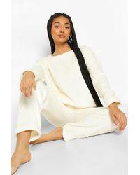 Boohoo Fluffy Pyjama Set - White