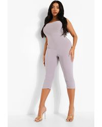Boohoo Plus Strappy 3/4 Unitard - Grigio