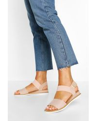 Boohoo Elastic Strap Sandals - Neutro