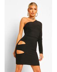Boohoo Bandage Rib One Shoulder Cut Out Waist Mini Dress - Nero