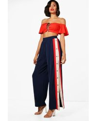 Boohoo - Sports Luxe Popper Relaxed Trousers - Lyst