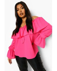 Boohoo Plus Ruffle Off Shoulder Flare Cuff Blouse - Pink