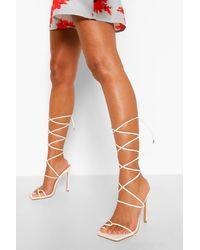 Boohoo Double Strap Wrap Up Sandal - White