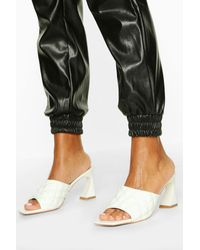 Boohoo Quilted Square Toe Low Heel Mules - White