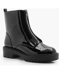 Boohoo Zip Front Biker Boots - Black