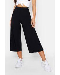 Boohoo Petite Rib Wide Leg Culottes - Black