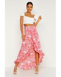 Boohoo Paisley Bohemian Wrap Ruffle Maxi Skirt - Red