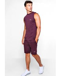 Boohoo - Man Embroidered Tank & Short Set - Lyst