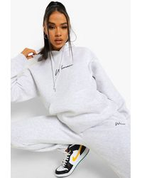 Boohoo Woman Embroidered Hooded Tracksuit - Gray