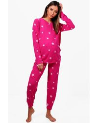 Boohoo - Maternity Star Printed Soft Loungewear Set - Lyst