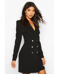 Boohoo Tall Puff Sleeve Blazer Dress - Black