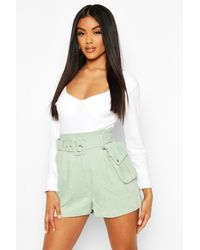 Boohoo Belted Cord Shorts With Mini Bag - Green