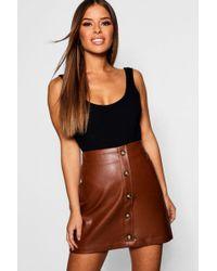 047a5f5d97 Boohoo Petite Mock Horn Button Mini Skirt in Black - Lyst
