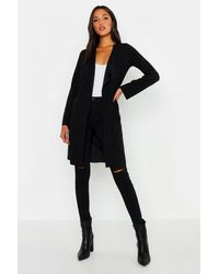 Boohoo Tall Short Belted Waterfall Duster - Black