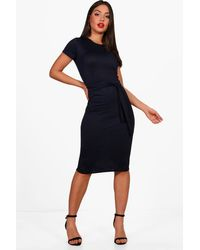 Boohoo Pleat Front Belted Tailored Midi Dress - Blue