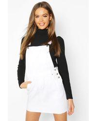 Boohoo Denim Overall Frayed Hem Pinafore Dress - White
