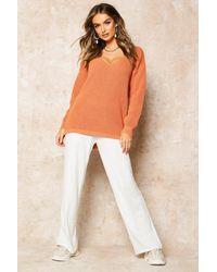 Boohoo Womens Oversized Pullover Mit V-Ausschnitt - Orange