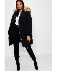 Boohoo - Longline Faux Fur Trim Hooded Puffer Coat - Lyst