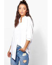 Boohoo Womens Tall Linen Look Oversized Shirt - White - S