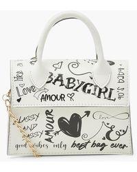 Boohoo All Over Graffiti Slogan Cross Body Bag - White