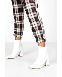 Boohoo Pointed Block Heel Sock Boots - White