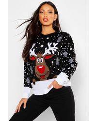 Boohoo Womens Weihnachtspullover mit Rentiermotiv - Schwarz