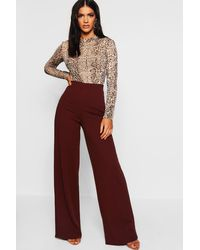 Boohoo High Waist Basic Crepe Wide Leg Trousers - Brown