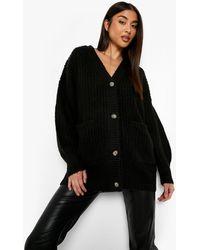 Boohoo Slouchy Oversized Cardigan - Black