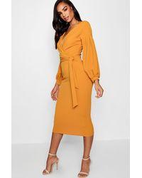 Boohoo Womens Tall Off The Shoulder Wrap Midi Bodycon Dress - Orange