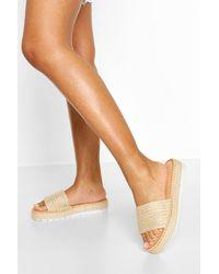 Boohoo Raffia Single Strap Footbed Slider - Natural