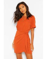 Boohoo Woven Wrap Dress - Arancione