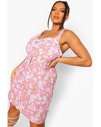 Boohoo Plus Floral Ruffle Swing Dress - Pink