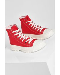 Boohoo Cleated Sole High Top Trainers - Red