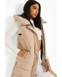 Boohoo Tall Mid Length Hooded Gilet - Natural
