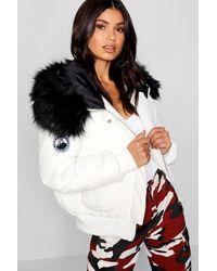 Boohoo Black Faux Fur Hood Crop Puffer - White