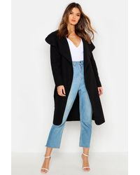 Boohoo Womens Belted Shawl Collar Coat - Black