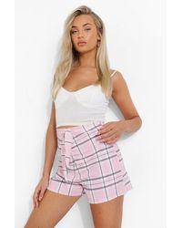 Boohoo Falda Pantalón Con Nudo Delantero Y Estampado De Cuadros - Rosa