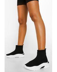 Boohoo - Chunky Contrast Sole Sock Sneaker - Lyst