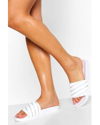 Boohoo Quilted Diamante Pool Slider - White
